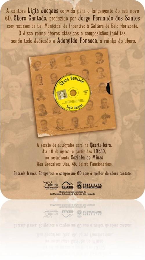 Choro Cantado é o novo CD de Lígia Jacques